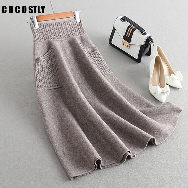 Falda tejida de lana para mujer de invierno, falda larga de punto grueso, nueva falda 2019 de bolsillo, falda tejida de moda