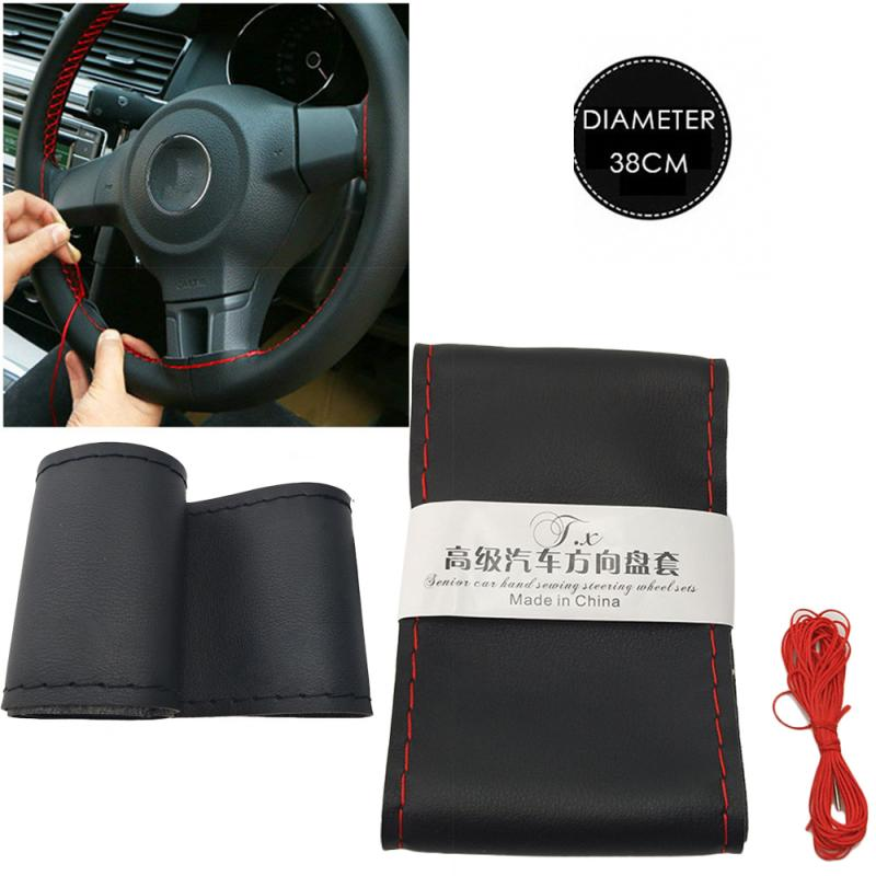 Car Steering Wheel PU Leather Steering Covers 37cm/38CM DIY Soft Leather Braid Design Car Accessories Steering Wheel Cover