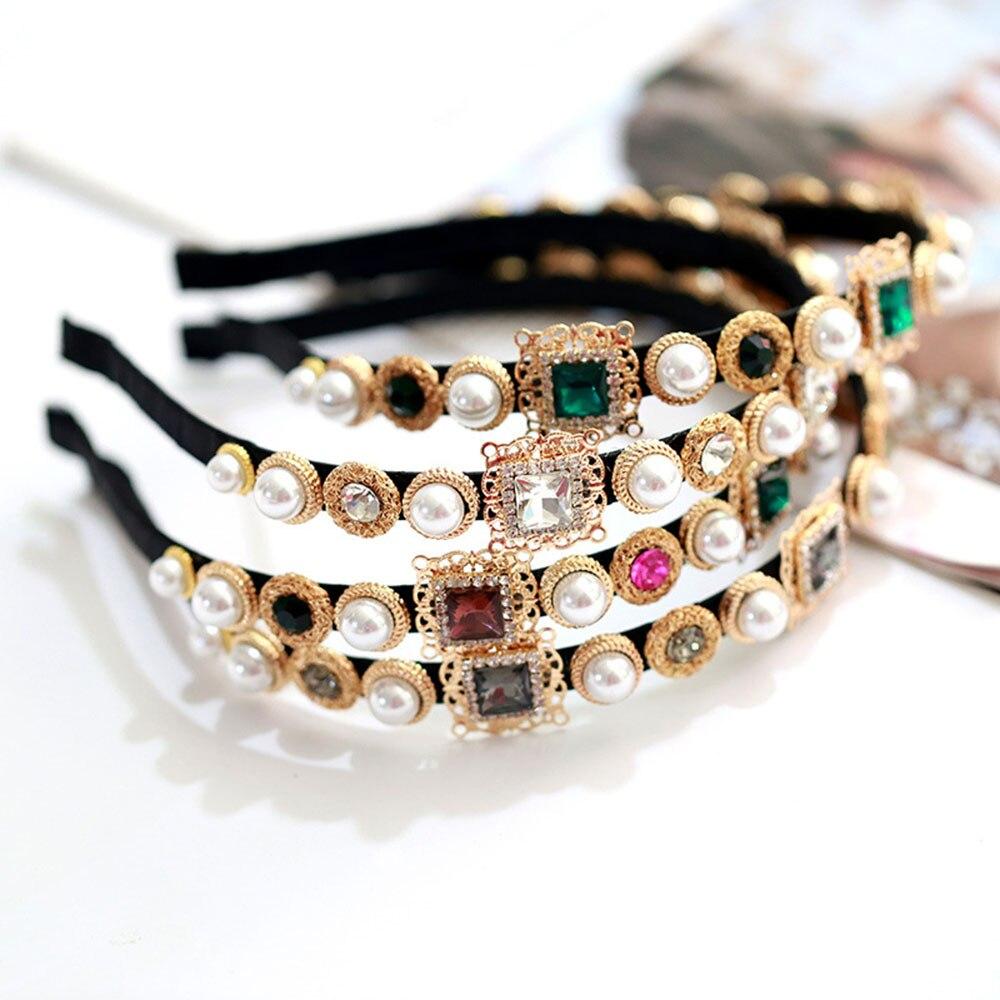 Vintage Embellished Gem Baroque Girls Women Fashion Jewelry Head Wrap Imitation Diamond Headband Hairbands Pearl Hair Crown