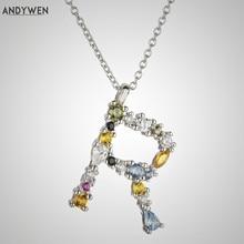 ANDYWEN 925 argent Sterling 26 lettres R U Initial luxe autriche cristal CZ T X nom collier Alphabet femmes 2020 mode