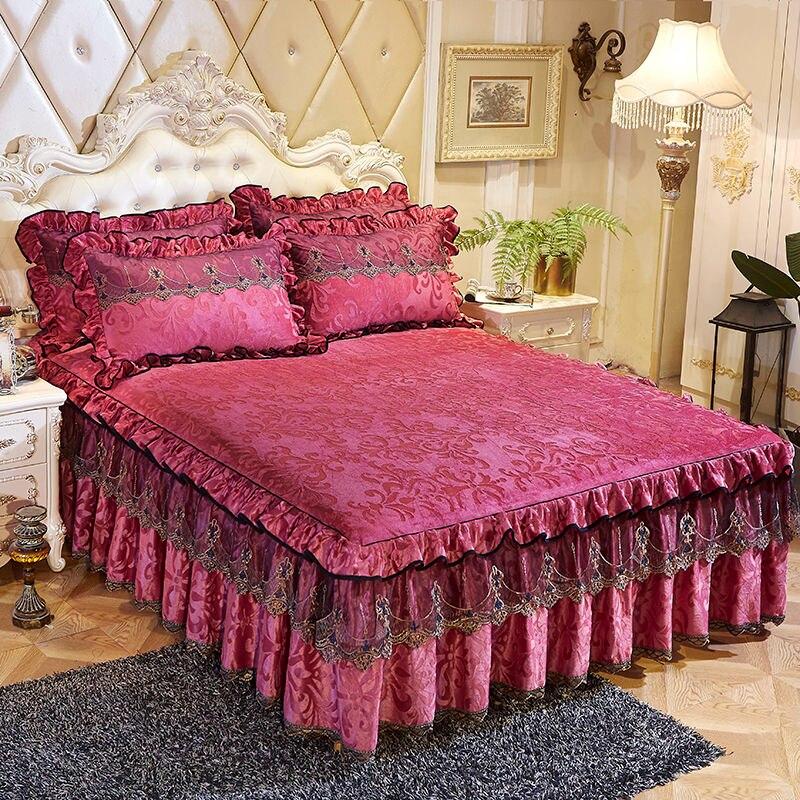 الأوروبي الفاخرة 3 قطعة السرير تنورة Wuth المخدة رشاقته جميلة السرير التنانير الفراش ملاءات Havy الدانتيل واحدة المفرش الملك/الملكة