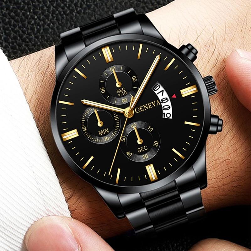 Reloj Hombre Fashion Men Stainless Steel Watch Luxury Calendar Quartz Wrist Watch Business Watches for Man Clock Montre Homme