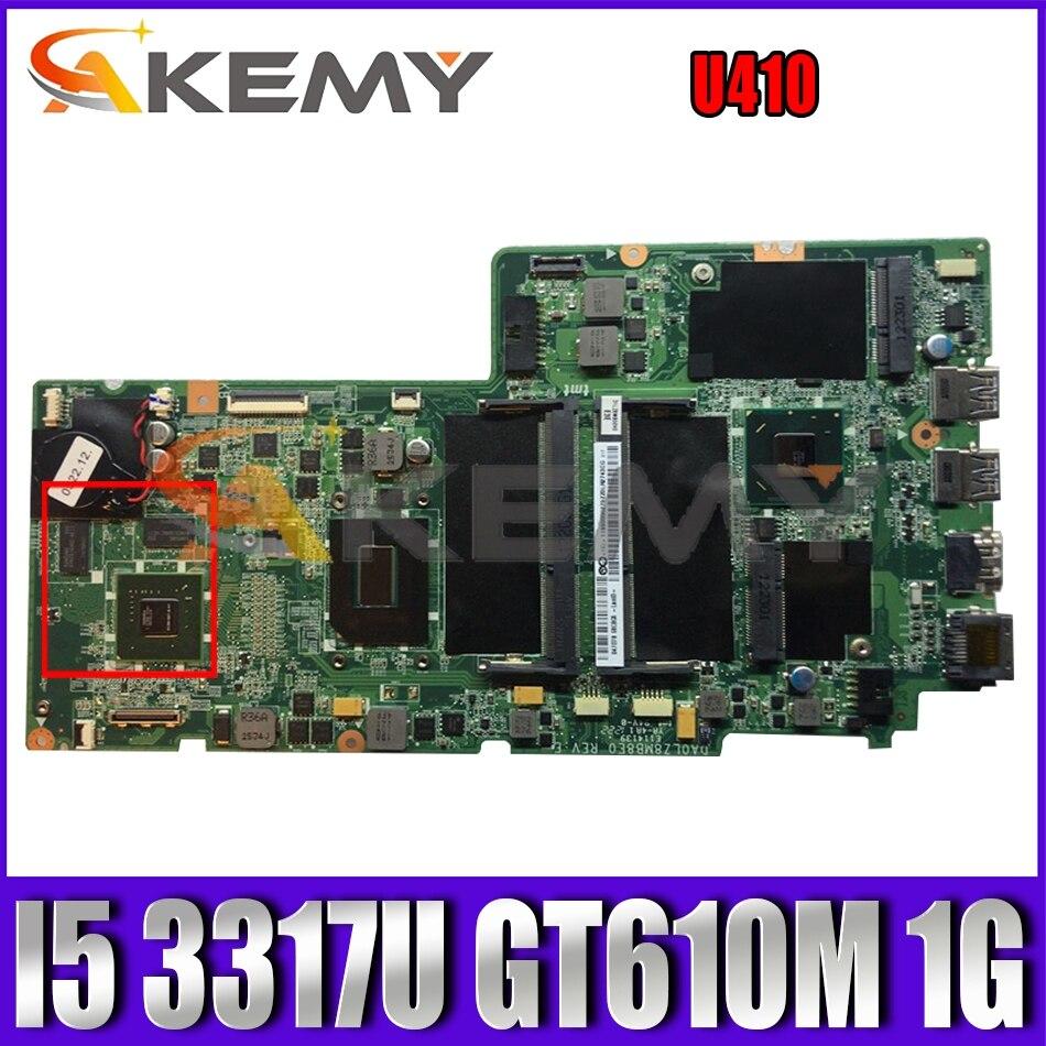 Akemy DA0LZ8MB8E0 اللوحة مناسبة لينوفو U410 اللوحة المحمول CPU I5 3317U GT610M 1G DDR3 100% اختبار
