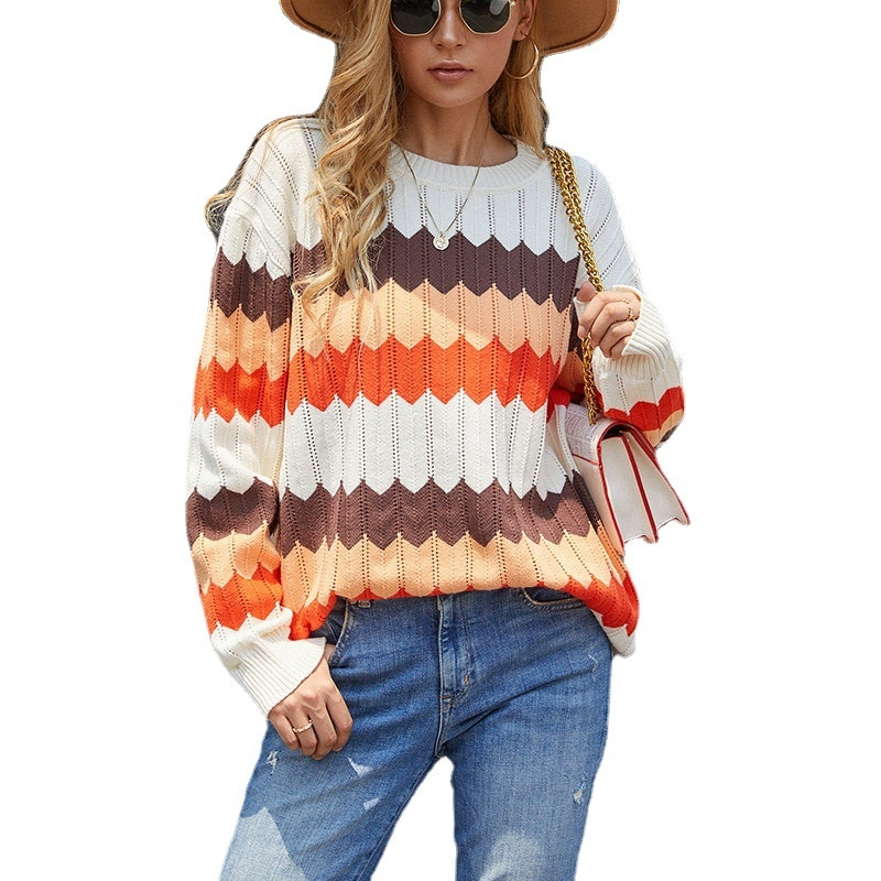 2021 Fashion Women Sweater New Autumn Casual Hot Sale Round Neck Pullover Wavy Stripes Contrast Color Loose Knit Sweater