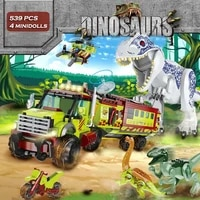 jurassic dinosaur word park building blocks drive car to escape from dinosaurs chasing bricks set model toy children kid gift