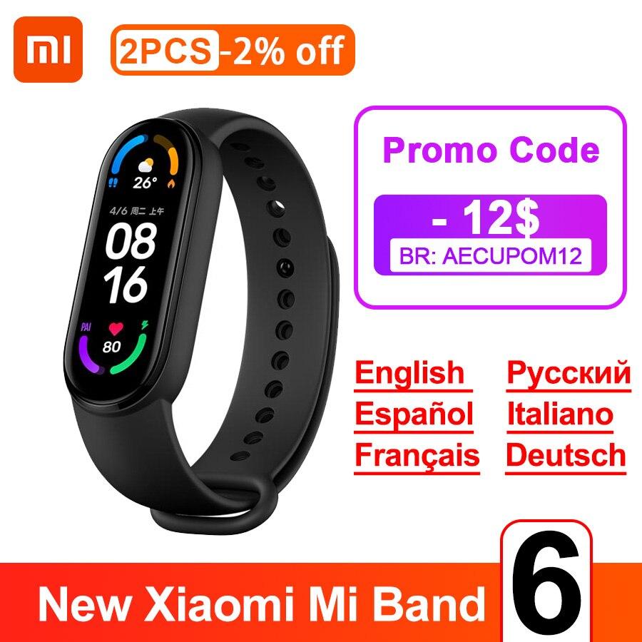 Смарт браслет Xiaomi MiBand 6, 5 цветов, AMOLED, Mi band 6, фитнес трекер с оксиметром в крови, пульсометр, Bluetooth, водонепроницаемый смарт браслет