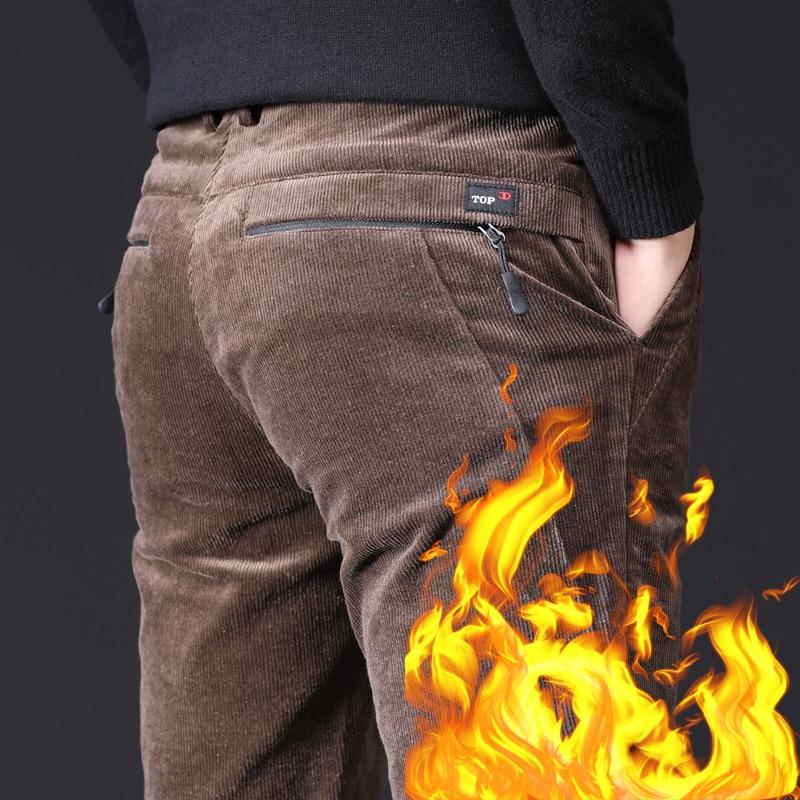 Men's Winter Pants Thick Cotton Fleece Warm Zipper Pocket Black Brown Pants Male Straight Trousers Stretch Casual Corduroy Pants