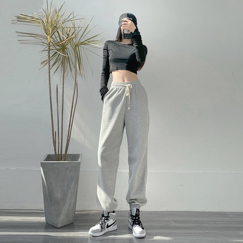 Gray Sports Pants Female Loose-Fit Tappered Trousers Spring and Autumn Slimming All-Matching 2021 Ne