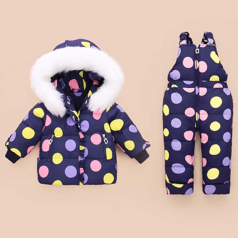 ملابس التزلج للأطفال, مجموعة ملابس الشتاء للأطفال سترة بطة أسفل ملابس التزلج الفتيات الرضع سترة الثلوج معطف الشتاء الدافئ + بذلة