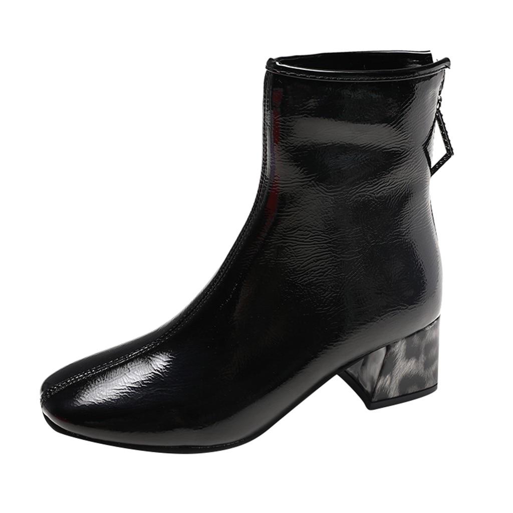 Ботинки из лакированной кожи; Женские туфли на квадратных каблуках с леопардовым принтом; Женские ботинки; Сезон осень-зима