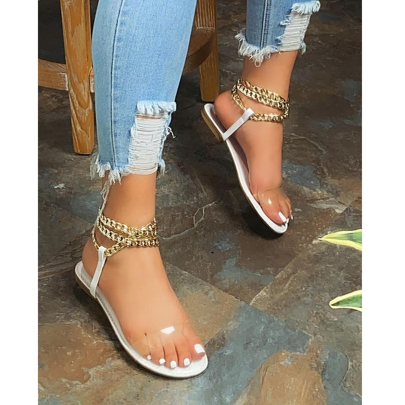 2021 Summer New Style Flat Sandals Fashion Solid Color Chain Open Toe Outdoor Women's Shoes Plus Size  women sandals