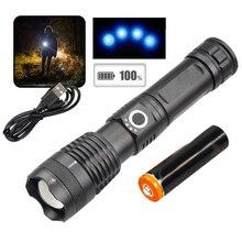 500000 lumen 5 Modello LED Zoomable Torcia Della Torcia Elettrica Della Luce Della Lampada USB Ricaricabile
