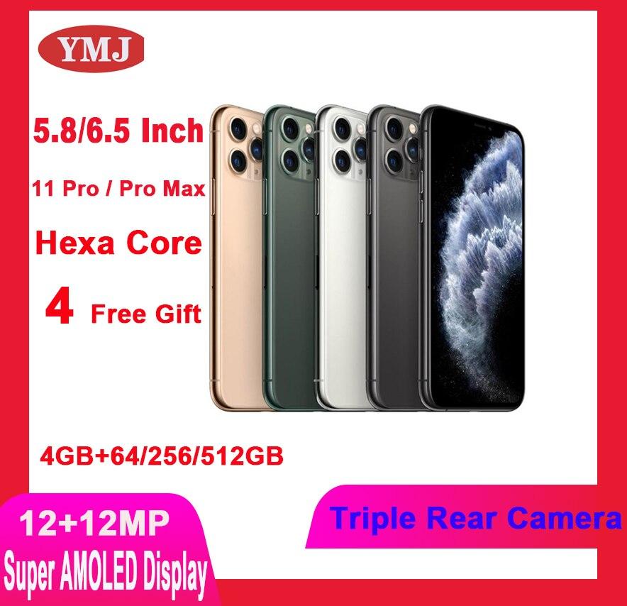 Разблокировать оригинальная б/у Apple iphone 11 Pro/ 11 Pro Max смартфон уход за кожей лица 4 + 64 ГБ/256 ГБ 4 аппарат не привязан к оператору сотовой связи GPS и...
