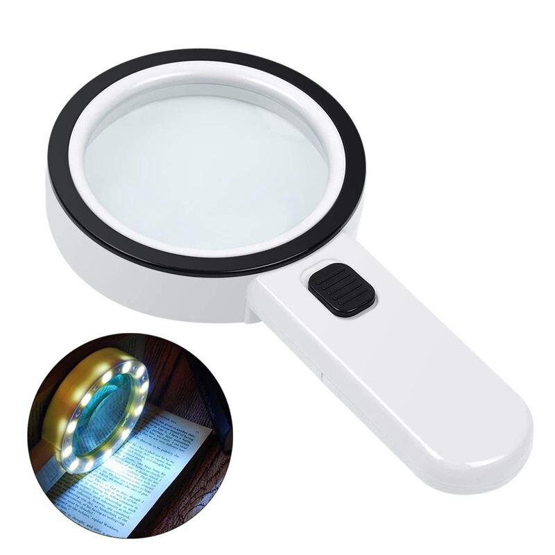 Vidrio nificante con luz, 30x vidrio nifficante grande de mano, 12 Led, nificador iluminado para degeneración Macular,