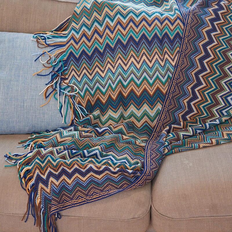 بطانية بوهيمية محبوكة من الكشمير ، مثل غطاء تكييف الهواء ، للسرير أو السيارة أو الأريكة