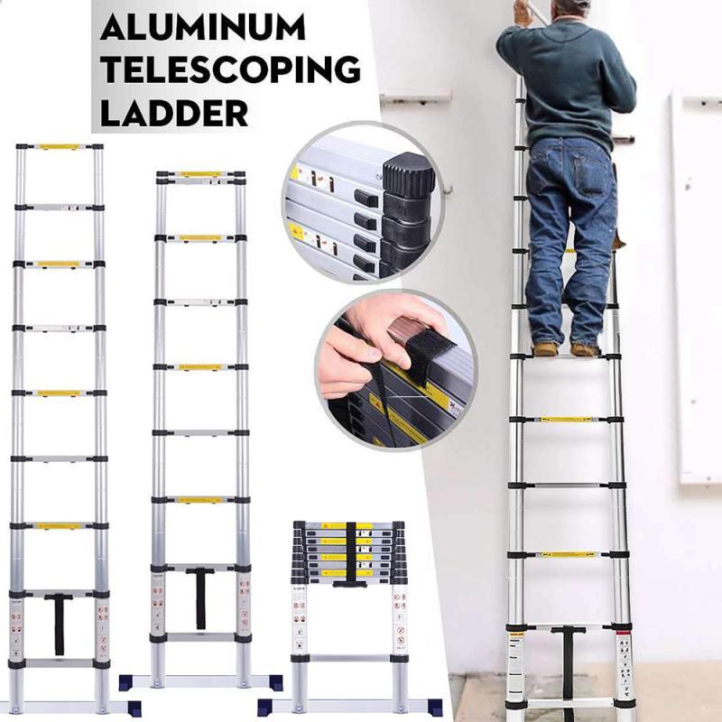 2.6m Multifunctional Telescopic Ladder Household Thickened Telescopic Ladder Folding Ladder Aluminum Ladder Industry Ladder HWC