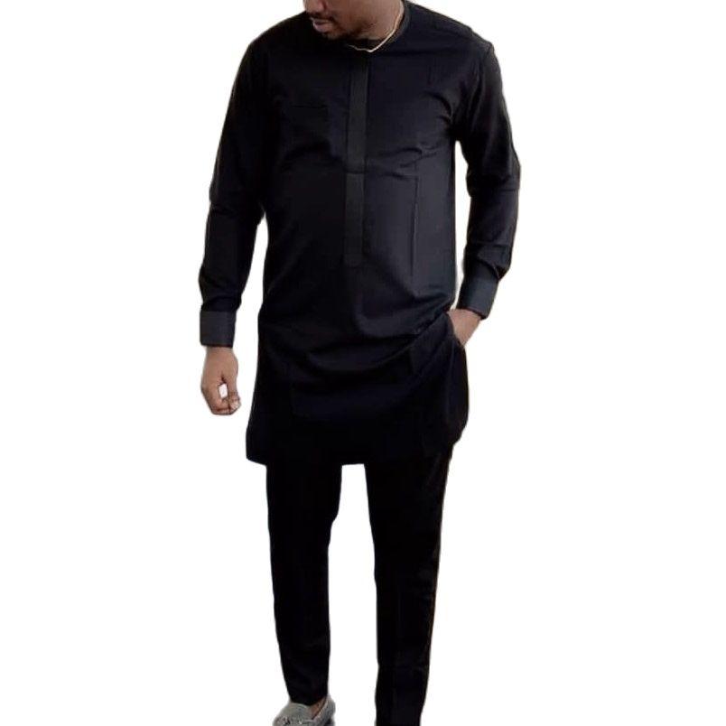В африканском стиле мужская одежда, мужские рубашки с брюки для девочек модные однотонные черные топы + брюки на заказ мужские костюмы в афр...