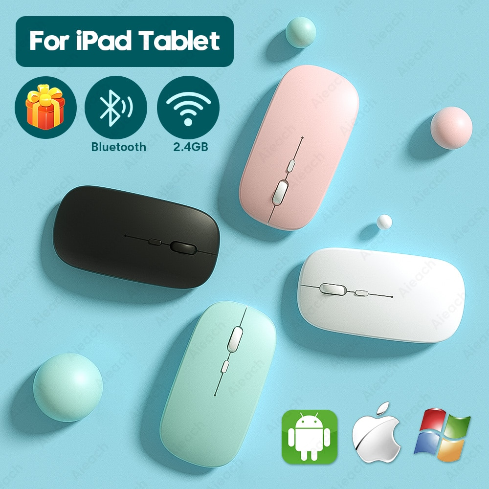 Souris Bluetooth Rechargeable pour iPad Pro 11 12.9 2018 2020 7th 8th génération Air 3 4 souris sans fil pour Xiaomi Samsung tablette