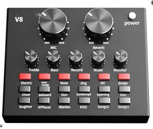 Placa de Som Transmissão do Telefone Microfone do Computador para Gravação Capacitivo Microfone Rede Móvel Capacitiva v8