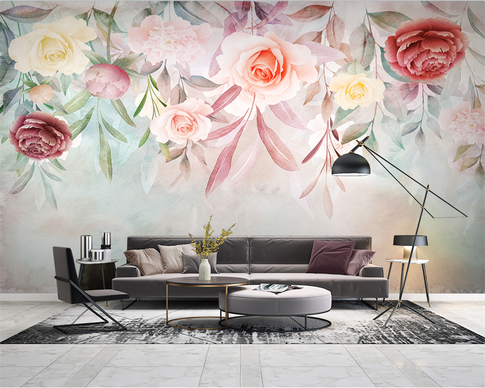 beibehang Customize new hand-painted watercolor flowers American pastoral style TV background papel de parede wallpaper beibehang new papel de parede 3d wallpaper chinese style simple wallpaper relief dream watercolor lotus lotus background tapety