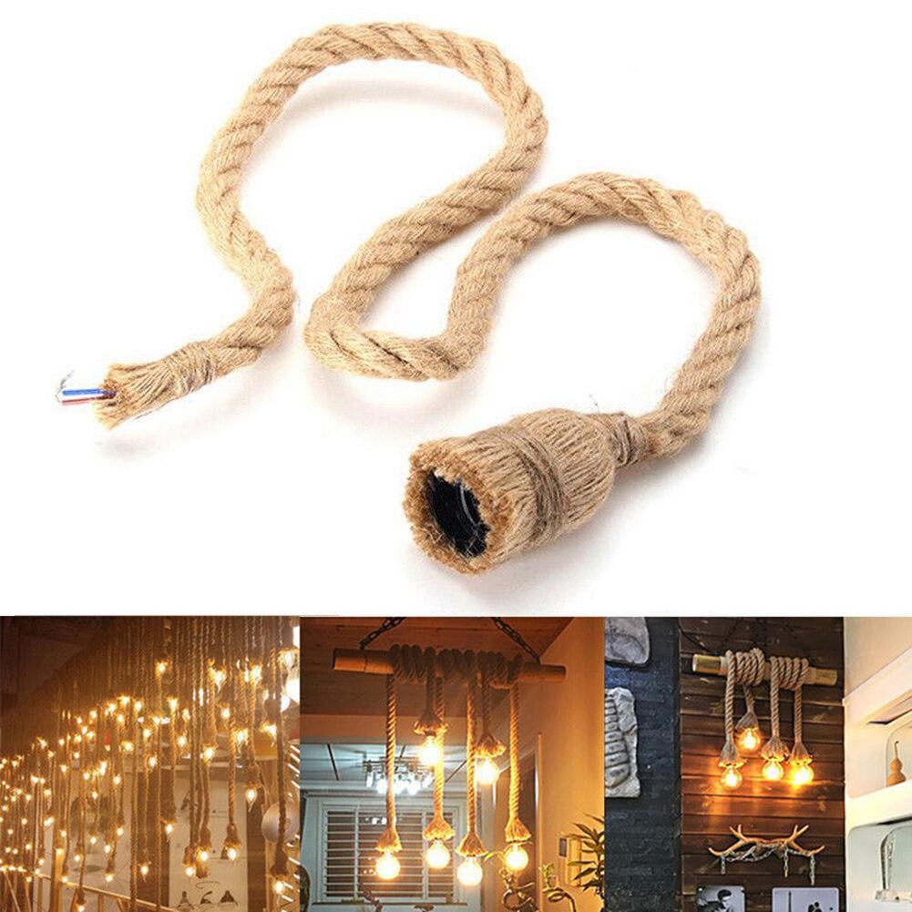 E27 держатель для лампы, винтажный пеньковый трос, электрический провод для DIY E27 Edison лампа, подвесной светильник, двойная/одинарная головка, н...