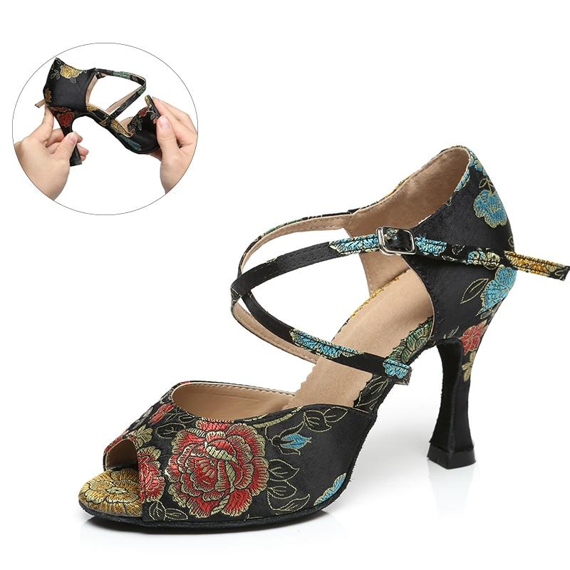 Шелковые Аксессуары для девушек, черные, синие, Waltz, обувь для сальсы, для танцев, детские мягкие туфли для латиноамериканских девушек