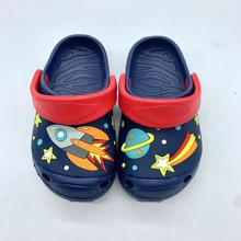 Children's Summer Slippers Boys Rocket Simple Cartoon Cute Comfortable Hole Shoes Kids Comfortable N