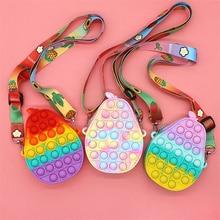 Fashion Fidget Toys Push Bubbles Toy Rainbow Unicorn Coin Purse Wallet Ladies Bag Silica Simple Dimp