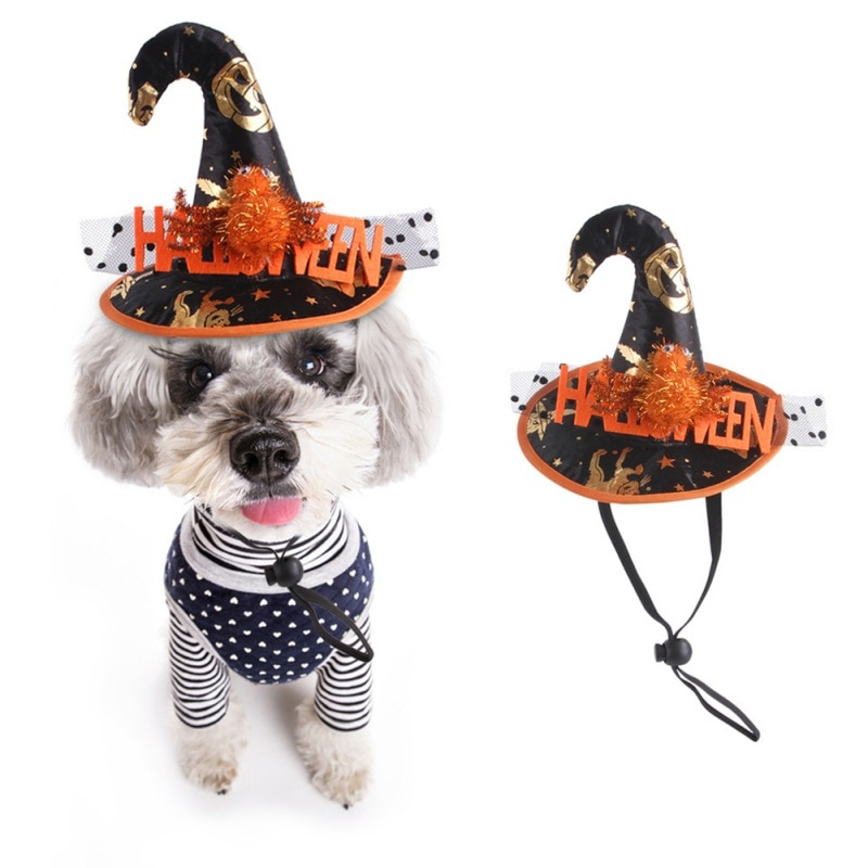 halloween magician style cotton coat cap suit for pet cat dog white black s 2021 Halloween Pet Hat Funny Pet Dog Cat Cap Hat Halloween Party Christmas Cosplay Accessories Photo Props Headwear Carnival