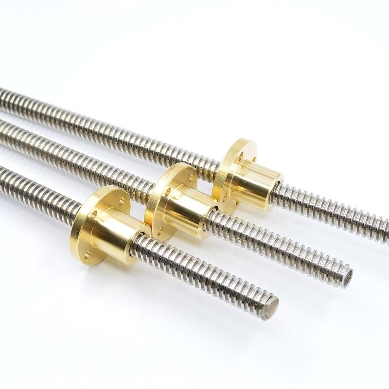 Haste trapezoidal de aço inoxidável da linha 8mm do parafuso da porca do chumbo comprimento 350mm 400mm com porca de bronze para a impressora 3d do cnc