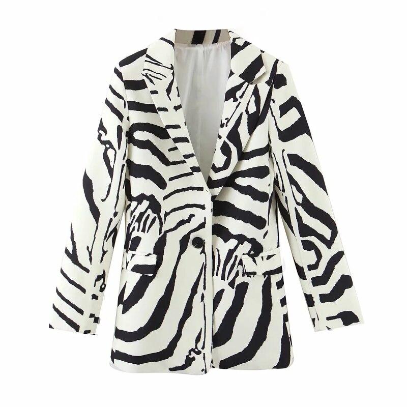 Mulheres do vintage zebra padrão blazer 2020 moda senhoras elegante macio linho jaqueta terno casual feminino chique blazers meninas terno