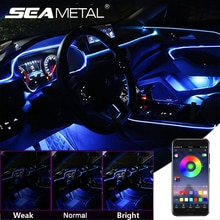 12V LED Car Atmosphere Light Interior Decorative Lamp App Music Control Soft Strip RGB Ambient Auto Interior Light with Remote