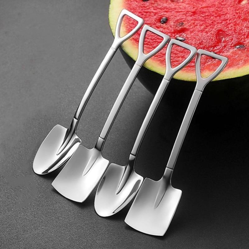 2/4PCS Coffee Spoon Cutlery Set Stainless Steel Retro Iron Shovel Ice Cream Spoon Scoop Creative Spoon tea-spoon Tableware