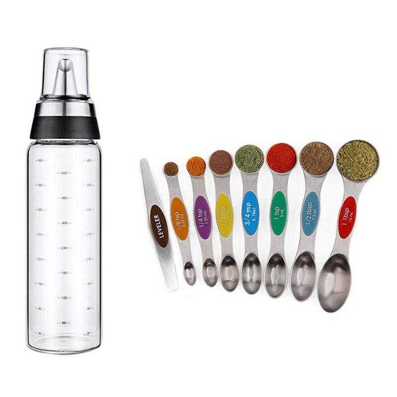 1 × 500 مللي زجاجة زيت المطبخ المنزلية مانعة للتسرب قارورة زيت زجاجية و 8x طقم ملاعق القياس المغناطيسي ، مزدوجة الوجهين