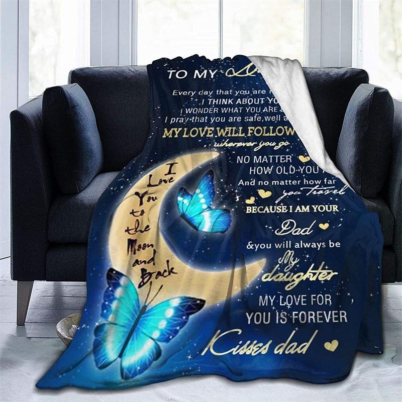 إلى ابنتي من أبي لينة أفخم هدية الفانيلا صوف ليف دقيق المفرش شيربا 3d-print بطانية الأريكة غرفة نوم ديكور