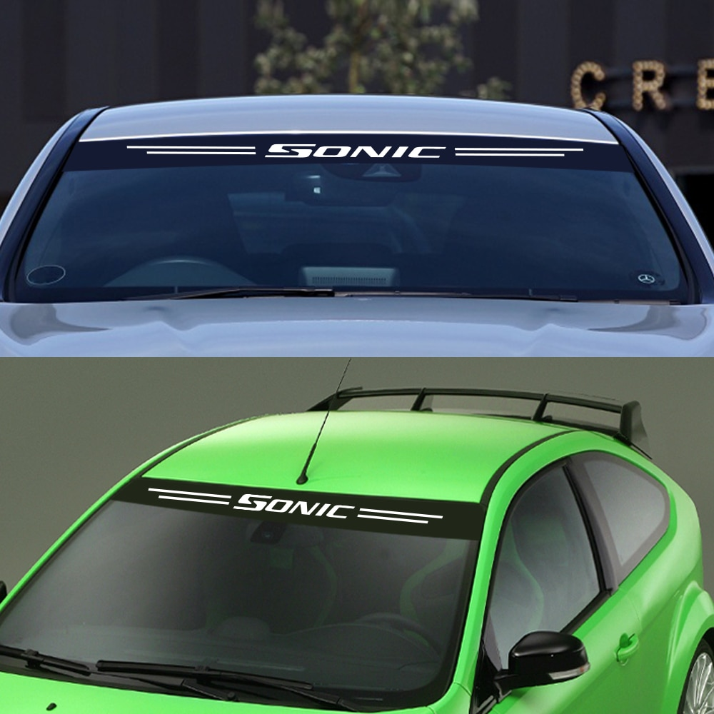 Frente traseiro pára-brisa adesivos de carro para chevrolet sonic auto reflexivo tira decalques filme vinil estilo tuning acessórios do carro