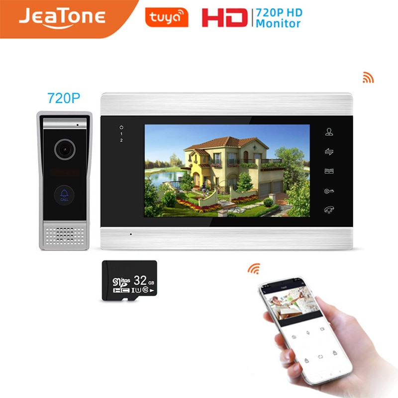 Jeatone 7inch Monitor Video Intercom Home Security System Video Doorbell Door Phone Camera, Multi-language, Tuya Remote Control