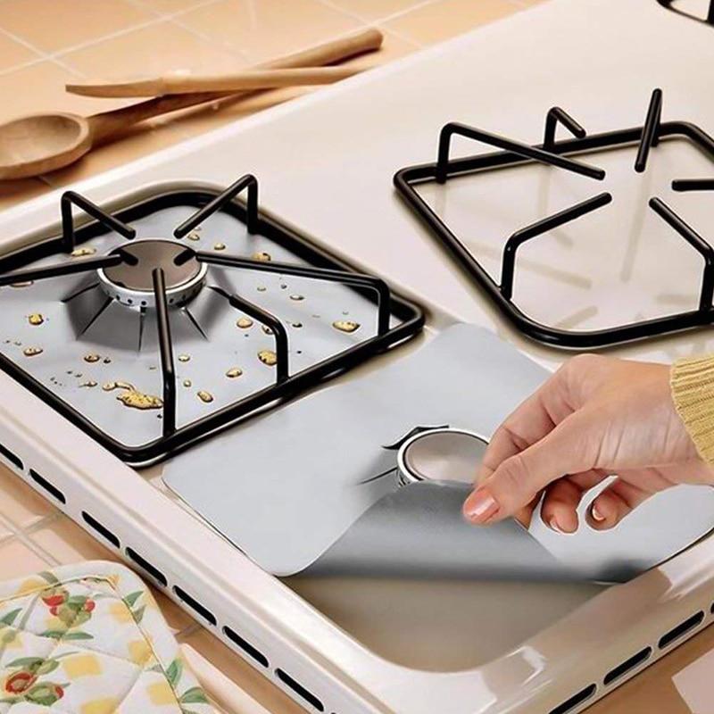 1 ud. Protector de estufa de Gas cubierta de cocina Liner alfombra limpia Protector de estufa de cocina remaches a prueba de aceite respetuoso con el medio ambiente suministros de cocina