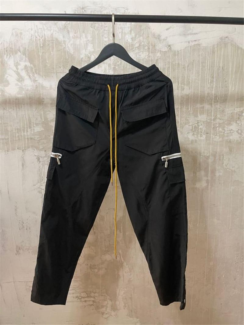 RHUDE Overalls Men Women Best Quality Zipper Pocket RHUDE Cargo Pants Buttoned Hem Retro Multi Pockets Trousers