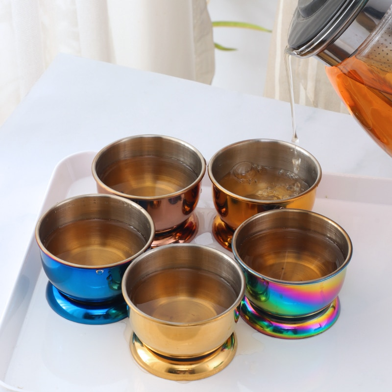 304 الفولاذ المقاوم للصدأ فنجان شاي شخصية مخصصة المنزلية الكونغ فو فنجان شاي ماستر كوب طقم شاي كبير الفم فنجان شاي