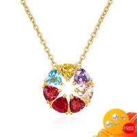 fashion necklace 925 silver jewelry for women wedding promise party gift topaz gemstone pendant ornaments wholesale dropshipping