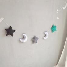INS nordique-guirlandes en feutre de lune   Guirlande, décoration de chambre denfants, ornements muraux suspendus, décor pour pépinière, bannière de fête, accessoires Photo