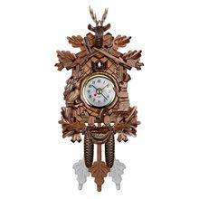 Vintage Home Decorative Bird Wall Clock Hanging Wood Cuckoo Clock Living Room Pendulum Clock Craft Art Clock For New House (brow