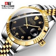 Men's Watch TEVISE 2020 Waterproof Ultra-thin Luxury Mechanical Watch Rhinestone Watch Calendar Gift