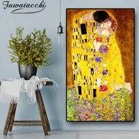 Peinture a lhuile abstraite sur toile de lartiste classique Gustav Klimt kiss  affiche imprimee  images murales dart moderne pour decoration de salon