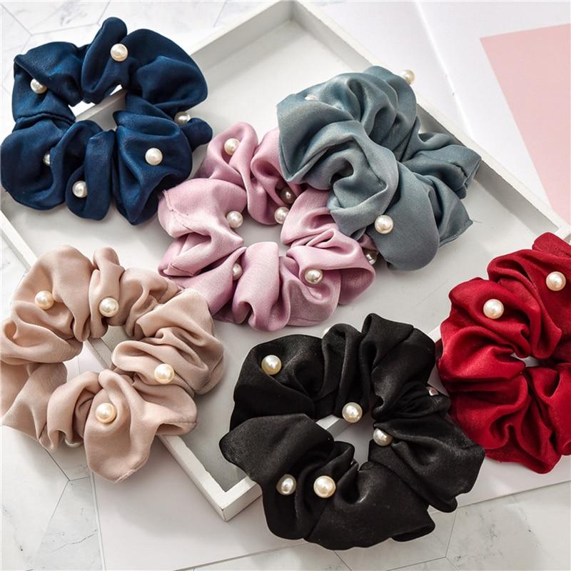 2020 nuevas mujeres satinado color perla Scrunchies elástico coleta titular cintas elásticas para el cabello accesorios para corbatas de pelo sedoso para niñas