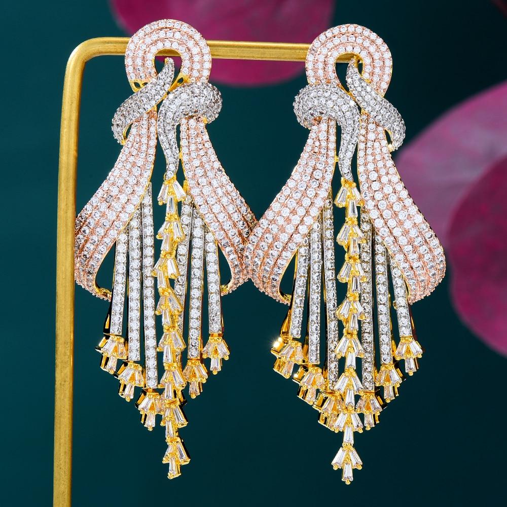 Missviki جديد فاخر ذهبي طويل كبير مُثبت أقراط للنساء حفل زفاف CZ دبي أقراط للعروسة مجوهرات العصرية العصرية