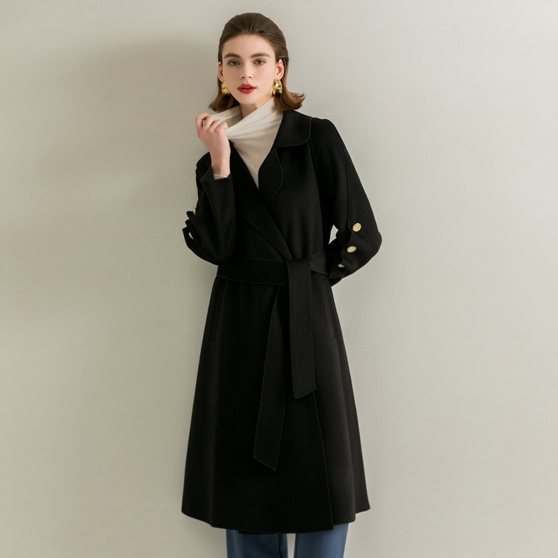 Женское двустороннее шерстяное пальто Donsignet средней длины, осенне-зимнее Новое темпераментное шерстяное пальто для женщин