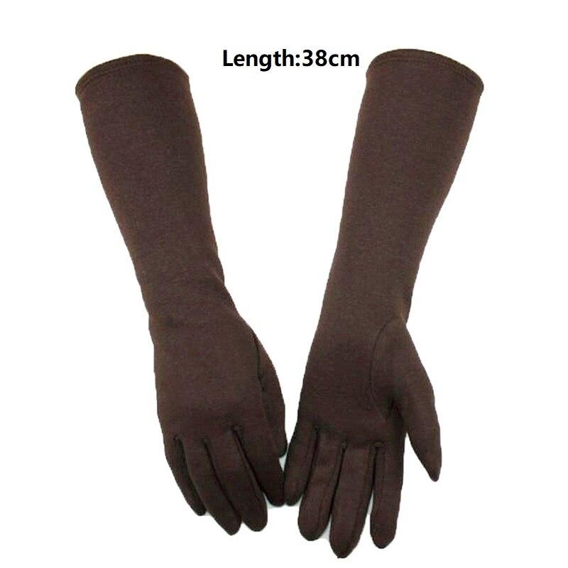 Теплые зимние женские вязаные перчатки 38 см, длинные трикотажные перчатки, женские хлопковые эластичные Осенние перчатки