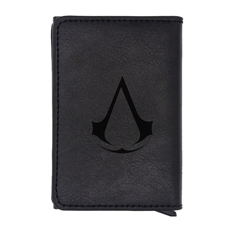 Cartera de Rfid de diseño de tema de Assassin de moda clásica para hombres y mujeres tarjeta de crédito negro cuero monedero corto carteras